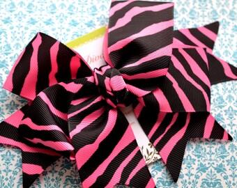 Hot Pink and Black Zebra Print XL Diva Bow