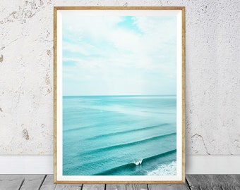 Water Surface, Blue Print Art, Turquoise Water, Coastal Style Print, Waves  Ocean,  Water, Blue Turquoise Aqua, Blue Sea, Blue Poster, 107v