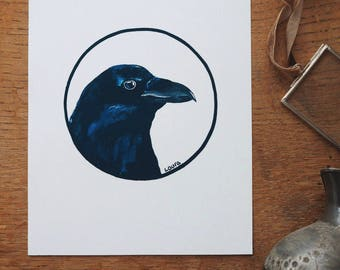 Raven Bird Art Print. Wildlife Art. Bird Watcher.