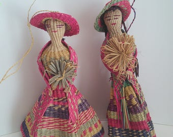 Vintage hand woven Straw dolls
