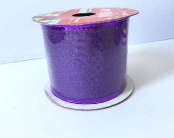 Metallic Purple Wired Ribbon 9 Feet Width 2.5