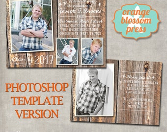 Barn Wood Graduation Announcement, Rustic Graduation, Country Graduation Invitation, Vintage Graduation, PHOTOGRAPHER PHOTOSHOP TEMPLATE