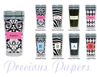 Personalized Travel Mug - zebra travel mug, damask travel mug, polka dot travel mug or argyle travel mug Paparte