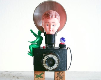 Assemblage Art / Found Objects Sculpture / Recycled Vintage Parts