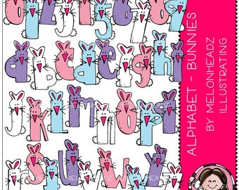 Alphabet clip art - Bunnies