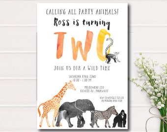 Calling All Party Animals Birthday Invitation, Zoo birthday invitation, safari animals, printable invitation, safari Animals,wild one invite
