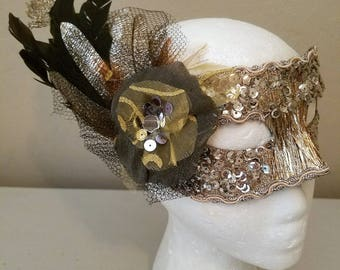 Halloween - Halloween Mask - Masquerade Ball - Costume Ball - Mask - Feather Mask - Embellished Mask