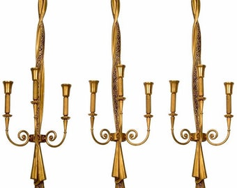 Tall Lumi Neoclassical Gilded Metal Sconces [8344]