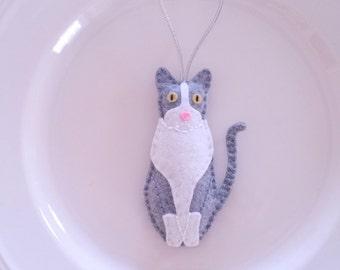Cat Multi-Colored Personalized Felt Christmas Handmade Ornament