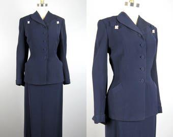 Vintage 1940s Navy Blue Suit 40s Dark Blue Wool Skirt Suit with Rhinestone Detail Size M