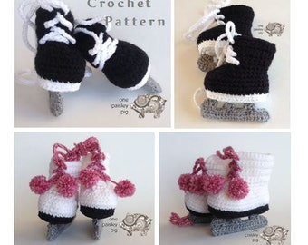 Baby Ice Skates Crochet Pattern (Hockey & Figure Skates) Baby Booties - PDF CROCHET PATTERN