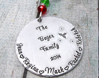 Personalized Ornament - Christmas Ornament - Personalized Christmas Ornament -  Hand Stamped Metal Ornament - Family Ornament  - Custom