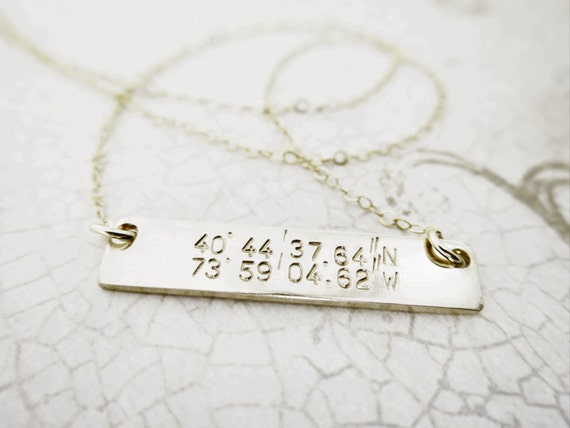 Latitude Longitude Necklace - Horizontal Bar Necklace - Gold Bar Necklace - Custom Coordinates - Custom Latitude Longitude
