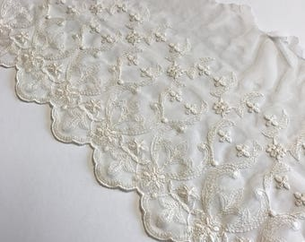 """IVORY, 7.5"""" Wide, Embroidered Lace Trim, BTY By The Yard"""