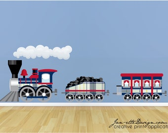 Kids Train Room Decor,Large Train Wall Decal,Removable and Repositionable Fabric Wall Sticker