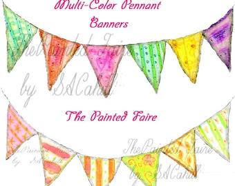 pennant banner clip art, digital banner, clip art bunting, clip art banner, digital bunting banner, printable party banners