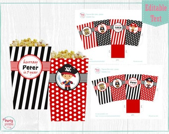 Pirate Popcorn Box, Pirate Favor Box, Pirates Boxes, Printable PDF, Editable File, Personalize at home with Adobe Reader