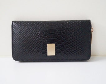 "Womens wallet ""Jana"" in black, genuine leather, wallet, purse, portemonnaie, handmade, ladies wallet, new"