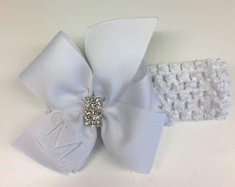 White Monogram, Hair Bow, Rhinestone Bling, Headband, Custom Boutique, Monogrammed Girls, Medium Toddler, Infant Gift Idea, Embroidery Kids