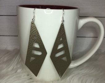 Geometric Leather Drop Earrings *FREE SHIPPING*