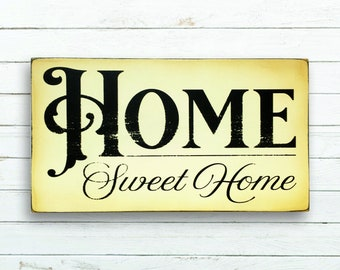 Home Sweet Home Sign | Rustic Wood Sign | Hand Painted Sign | Vintage Style Sign | Handmade Wooden Sign | Home Decor | Wall Art | Vintage