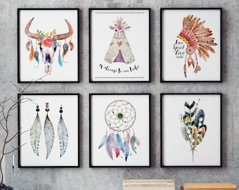 Wall Art Set of 6 - Native American Art Set, Printable Boho Art, Printable Native American Decor, Dreamcatcher, Teepee, Feathers, War Bonnet