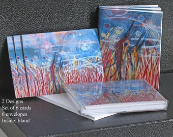 Crane Art Note Card Set, Two Designs, Six cards