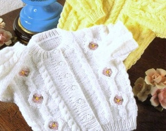 Baby Knitting Pattern DK Cable Cardigan Sweater pdf