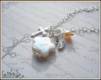 Confirmation Communion Necklace, Baptism Necklace, Cross and Pearls Convertible Sterling Silver Necklace N