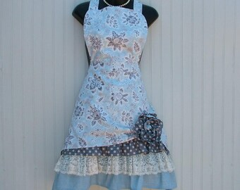 Womens Apron with ruffles and lace; Retro apron with Vintage apron style; Blue and Gray Apron with Pockets and fabric flower;  Kozy Kitchens
