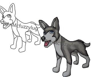 Digital Stamp.(Digi stamp)  Wolf stamp. Cardmaking. Craft Supplies, Instant download. Wolf dog art. Fuzzylug Stamp