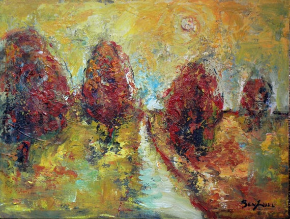 ORIGINAL Painting Dragon Summer - Abstract Red Trees Yellow Painting on Canvas 24x18 by BenWill