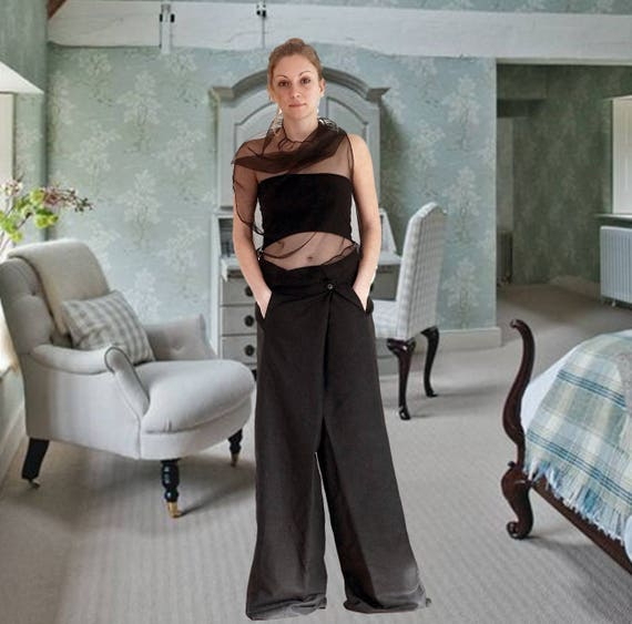 Linen Wide Legs Trousers, Drop Crotch Pants, Extra Long Trousers, Asymmetric Extravagant Pants, High Waisted Trousers, Clubwear, Bridesmade