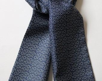 "Blue geometric Hand printed silk cravat 40"" X 5.5"" Hand made in UK"