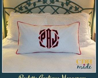 The JUMBO Roulette Applique Monogrammed King Pillow Sham - King 20 x 36