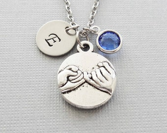 Pinky Promise Necklace, Best Friends Jewelry, Pinky Swear, Swarovski Birthstone, Silver Initial, Personalized, Monogram, Hand Stamped Letter