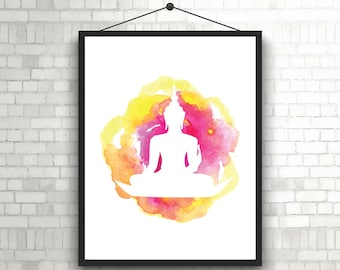Neon Buddha Art// Buddha Print// Buddha Digital Print// Buddha Wall Art// Buddha Zen Art// Buddha Printable Art// Buddha Digital Art