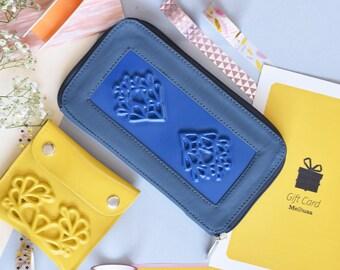 Blue big vegan wallet for women / vegan blue purse / vegan accessories / vegan coin purse for women / vegan bags / medusa vegan bags