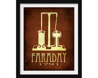 Chemistry Gift, Michael Faraday Physics Poster, Science Gift, School Decor, Office Wall Art, Tech Gift, Chemistry Teacher Gift Steampunk Art
