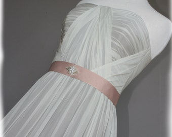 Gray Wedding Dress with blush belt, Custom Made in your size - Mona Style