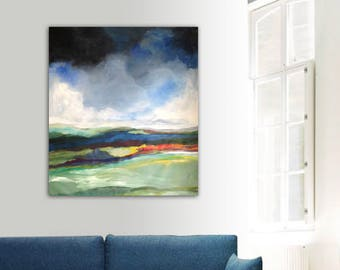 Original painting, large format. Painting on acrylic canvas. Landscape painting. Weather painting