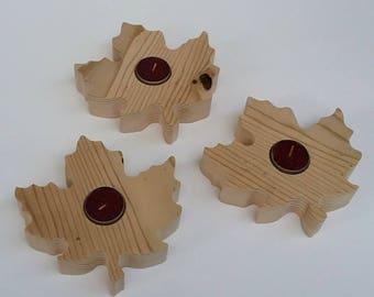 D'érable feuille en forme de récupération bois rustique bougie titulaires recyclé Grange bois photophore bougeoir - lot de 3