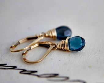 Blue Topaz Earrings, London Blue Topaz, Topaz Earrings, November Birthstone, Gold Earrings, Birthstone Earrings, Birthstone Jewelry