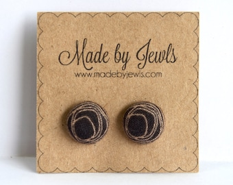 Black and Tan Scribble Handmade Fabric Covered Hypoallergenic Button Post Stud Earrings 10mm