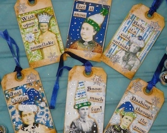 Old Winter SNOW Tags Collage Paper Sheet PDF - Email U print art vintage saying photos sayings Altered  aceo primitive christmas hat digital