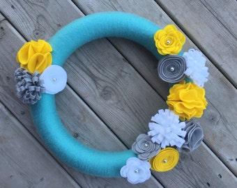 Spring Wreath, Aqua, Yellow, White and Grey Yarn Wreath,  Door Wreath, Front Door Wreath