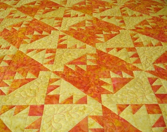 Handmade Patchwork Quilt Kansas Troubles in Yellow and Poppy Batik  Made for You