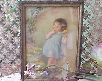 Darling Vintage Print-Little Girl with Squirrel