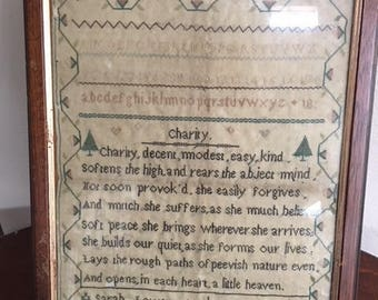 Antique Sampler, Needlework by Sarah Lower, Aged 8 Years
