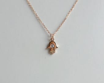 Hamsa Necklace/  Rose Gold Tiny Hamsa / Rose Gold Hand of Fatima/ Delicate Thin Gold Hamsa Necklace/ Tiny Hamsa/ Mini Hamsa/ 14k Gold Hamsa